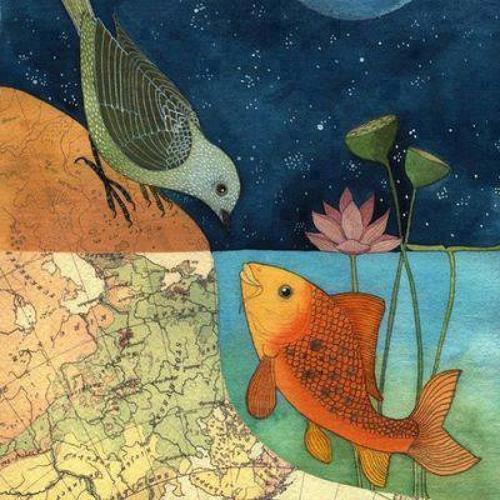 صورة عصفور وسمكة