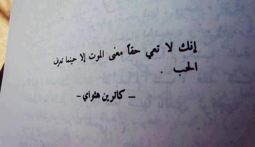 إنك لا تعي حقاً معني الموت الا حينما تعرف الحب .