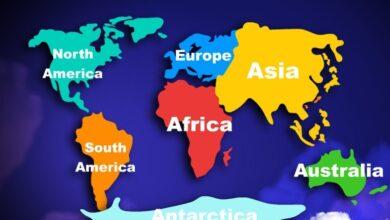 أسماء قرات العالم بالإنجليزية.