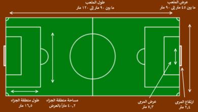 طول و عرض و مساحة الملعب.