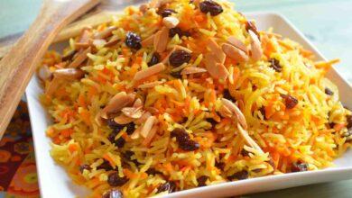 ارز ملون بالخلطة