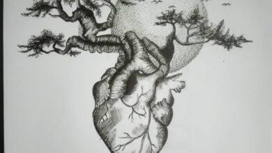 الرسم الحر بالرصاص لقلب و شريينه هي أشجار تنبض بالحياة.