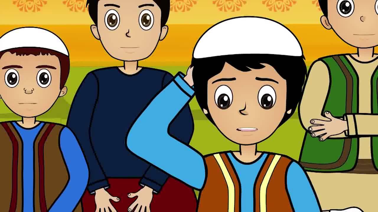 رسمة ملونة لصبيان و أولاد صغيرة بلبس إسلامي.