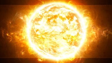 صورة لنجم الشمس من قريب و هو متوهج.