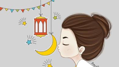 خلفية رمضانية مرسومة و ملونة لبنت مع رمزيات رمضان.