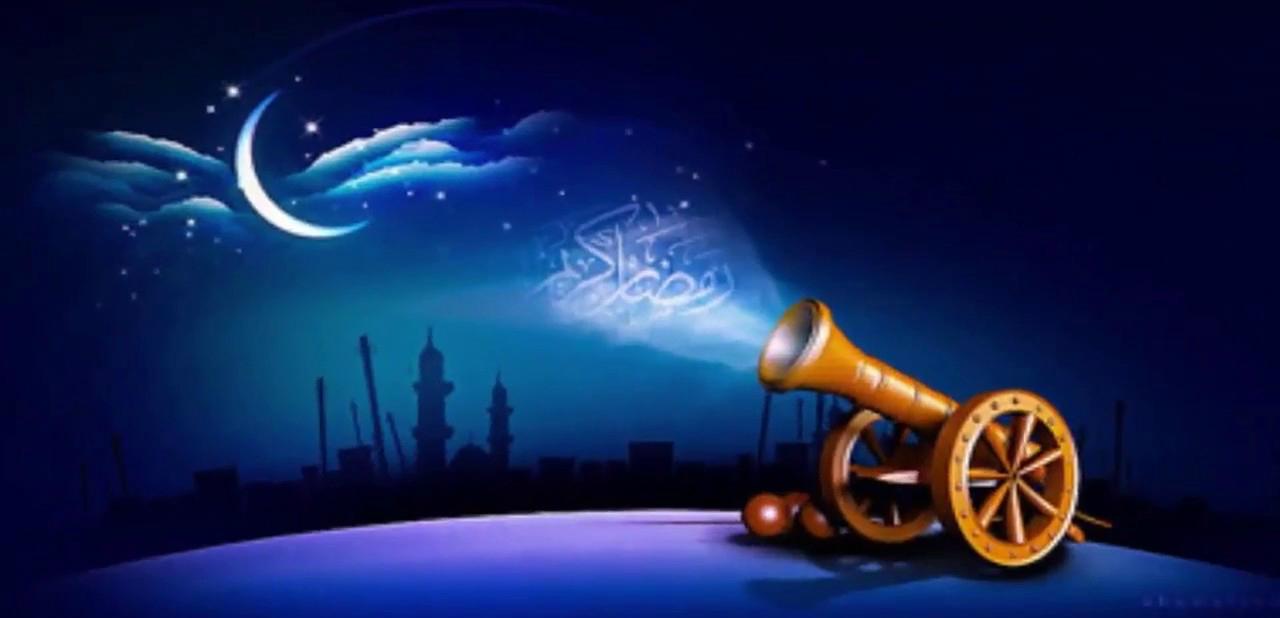 خلفية رمضانية لمدفع رمضان بدون كتابة.