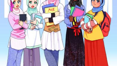 رسمة بنات محجبات ملونة.